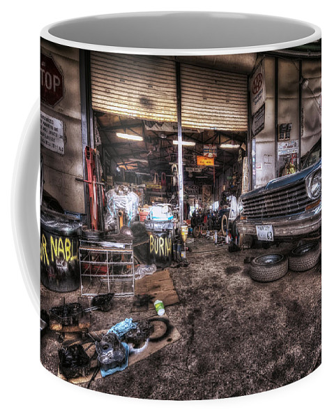 Car Garage House Home Mechanic Repair Building Architecture Man Auto Property Construction Automobile Shop Transport Service Autos Drive Technology Blue Garagen Hood Engine New Wheel Haus Craft Vehicle Build Family Coffee Mug featuring the photograph Garage by John Swartz
