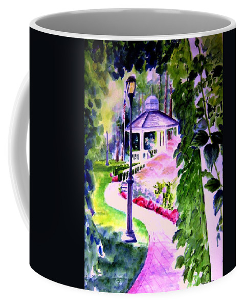 Graden City Coffee Mug featuring the painting Garden City Gazebo by Sandy Ryan