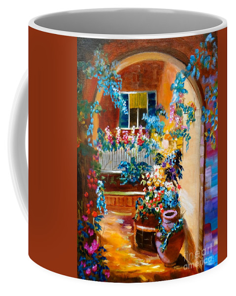 Garden Portico Coffee Mug featuring the painting Garden Gazebo by Jenny Lee