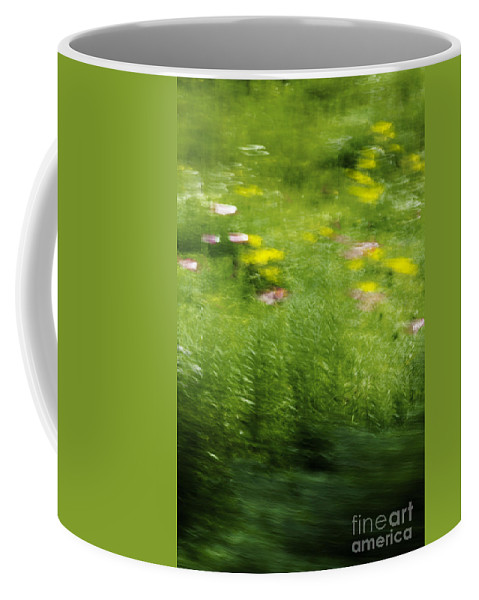 Abstract; Blur; Blurry; Blurred; Garden; Green; Yellow; Pink; Flowers; Grasses; Nature; Lovely; Beautiful; Summer; Serene; Rural; Flower Garden; Floral; Botanic Coffee Mug featuring the photograph Garden Impressions by Margie Hurwich