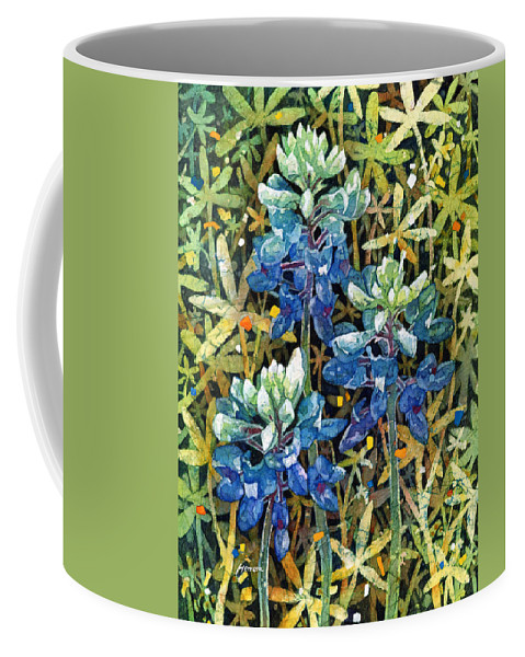 Bluebonnet Coffee Mug featuring the painting Garden Jewels II by Hailey E Herrera
