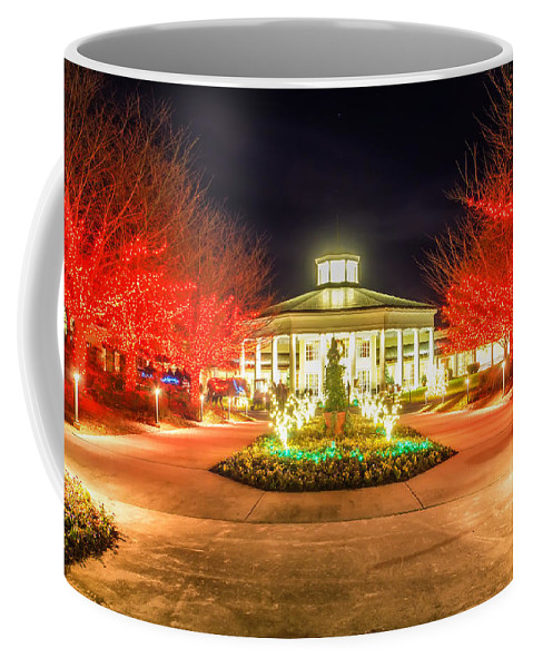 Art Coffee Mug featuring the photograph Garden Night Scene At Christmas Time In The Carolinas by Alex Grichenko