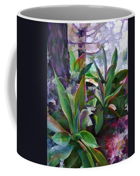 Cactus Coffee Mug featuring the painting Garden Of Agave by Elaine Plesser