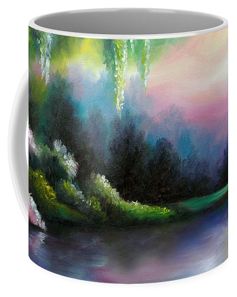 Sunrise Coffee Mug featuring the painting Garden of Eden I by James Christopher Hill