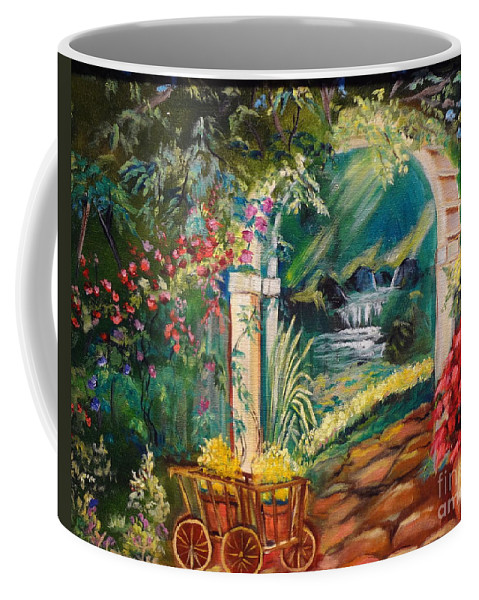 Garden Scene Coffee Mug featuring the painting Garden Of Serenity Beyond by Jenny Lee
