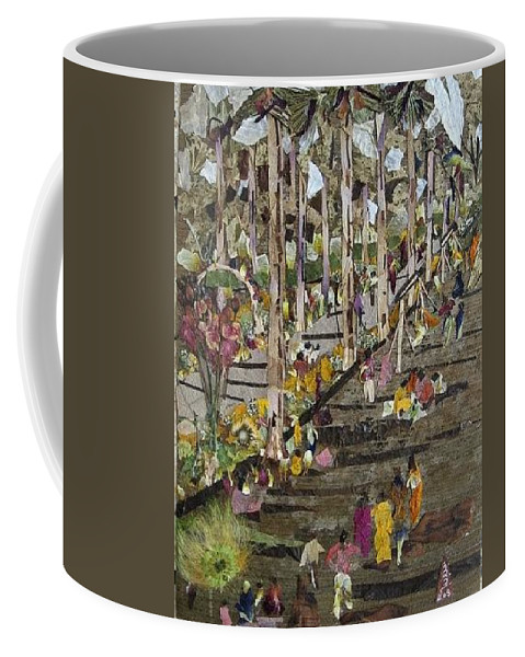 Garden Morning View Coffee Mug featuring the mixed media Garden Picnic by Basant Soni