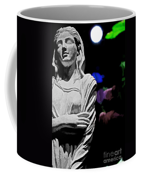 Old Coffee Mug featuring the photograph Garden Statue At Night by Tom Gari Gallery-Three-Photography