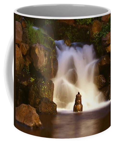 Garden Waterfall Coffee Mug featuring the photograph Garden Waterfall by Ellen Henneke
