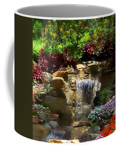 Garden Coffee Mug featuring the photograph Garden Waterfalls by Pharris Art