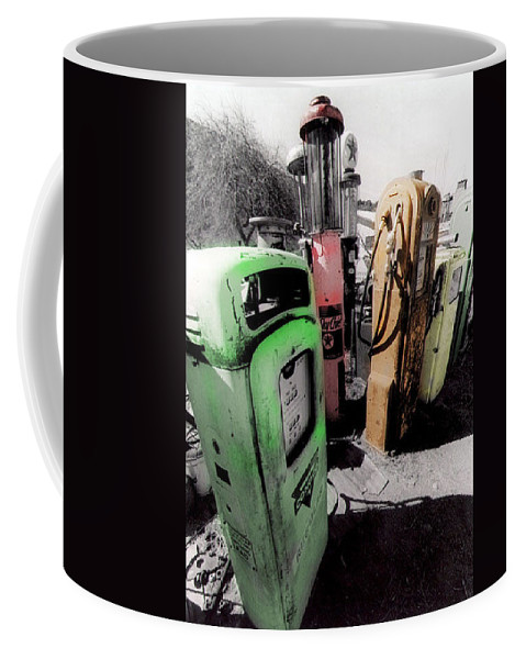 B&w Coffee Mug featuring the photograph Gas Pump Grave 23 by Timothy Bischoff