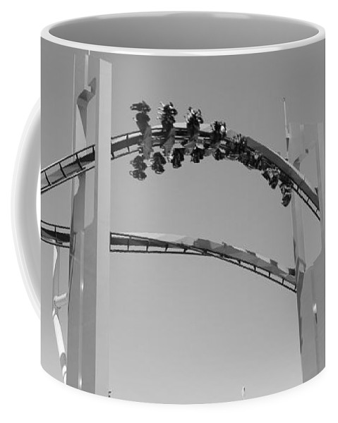 Cedar Point Roller Coaster Black And White Coffee Mug featuring the photograph Gatekeeper Roller Coaster Black And White by Dan Sproul