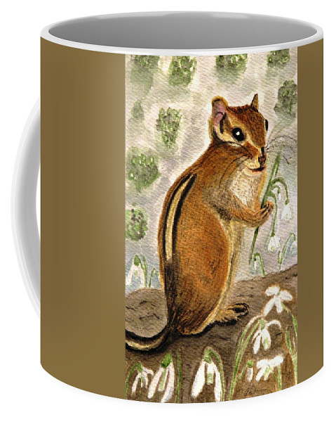 Chipmunks Coffee Mug featuring the painting Gathering Snowdrops by Angela Davies