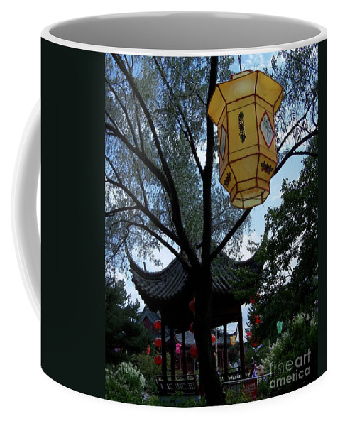 Garden Art Coffee Mug featuring the photograph Gazebo With A Lantern by Lingfai Leung