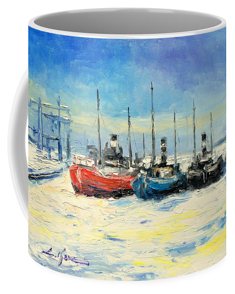 Gdynia Coffee Mug featuring the painting Gdynia Harbour - Winter by Luke Karcz
