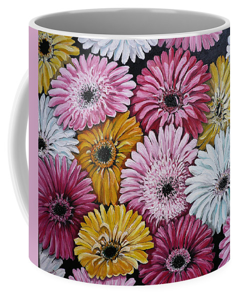 Flower Paintings Daisy Paintings Floral Paintings Blooms Color .gerbera Daisy Paintings Greeting Card Painting S Canvas Painting Poster Print Paintings Coffee Mug featuring the painting Gebera Daisies by Karin Dawn Kelshall- Best