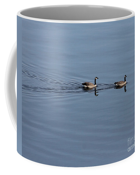 Geese Coffee Mug featuring the photograph Geese Reflected by Leone Lund