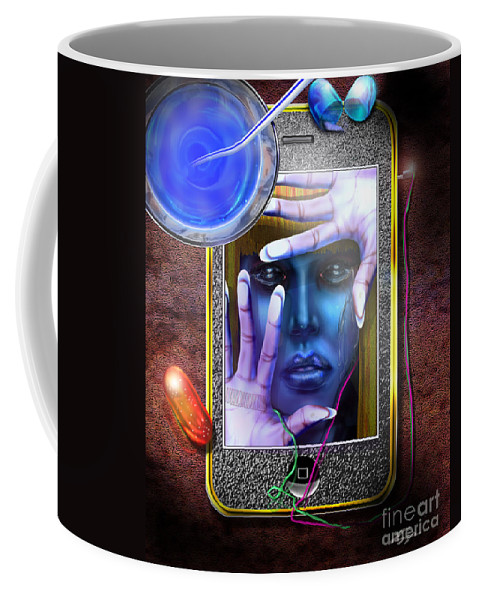 Social And Political Satire Coffee Mug featuring the painting Generation Blu - The Blu Pill Makes Kool Aid by Reggie Duffie