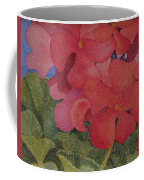 Florals Coffee Mug featuring the painting Generium by Mary Ellen Mueller Legault