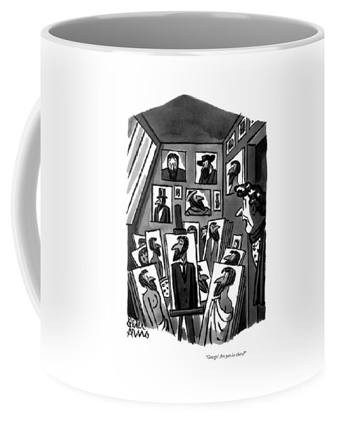 Wife Peeking Into Artist-husband's Studio Coffee Mug featuring the drawing George! Are You In There? by Peter Arno