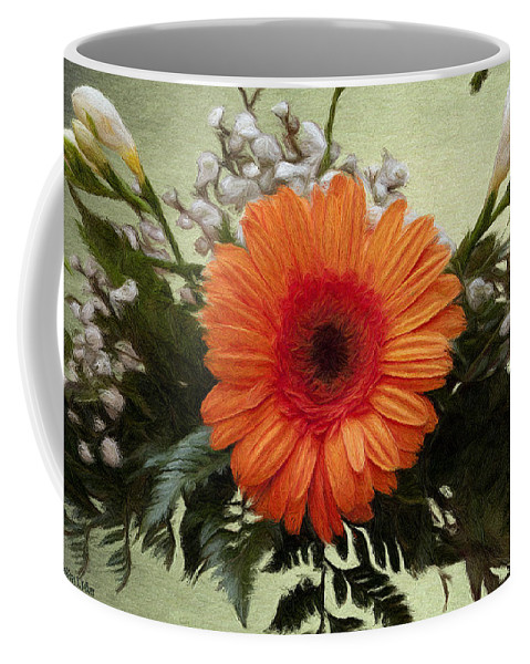 Arrangement Coffee Mug featuring the painting Gerbera Daisy by Jeffrey Kolker
