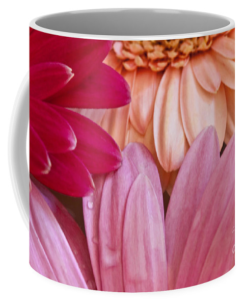 Red; Orange; Salmon; Pink; Arrangement; Gerbera Daisy; Rain; Rain Drop; Wet; Water; Pretty; Flowers; Spring; Nature; Beautiful; Bouquet; Still Life; Close Up; Macro; Together Coffee Mug featuring the photograph Gerbera Impressions by Margie Hurwich