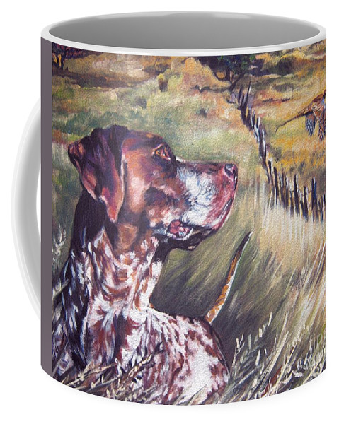 Dog Coffee Mug featuring the painting German Shorthaired Pointer And Pheasants by Lee Ann Shepard