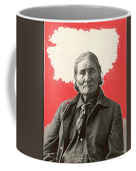 Geronimo Portrait R. Rinehart Photo Omaha Nebraska 1898 Coffee Mug featuring the photograph Geronimo Portrait R. Rinehart Photo Omaha Nebraska 1898-2013 by David Lee Guss