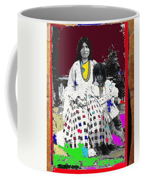 Geronimo's Wife Ta-ayz-slath And Child Unknown Date Collage 2012 Color Added Coffee Mug featuring the photograph Geronimo's Wife Ta-ayz-slath And Child Unknown Date Collage 2012 by David Lee Guss