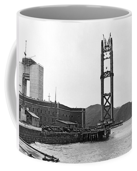 1935 Coffee Mug featuring the photograph Gg Bridge Under Construction by Underwood Archives