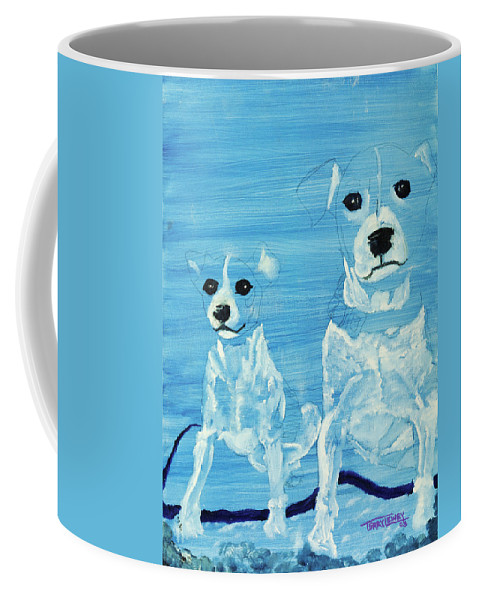 Dogs Coffee Mug featuring the painting Ghost Dogs by Terry Lewey
