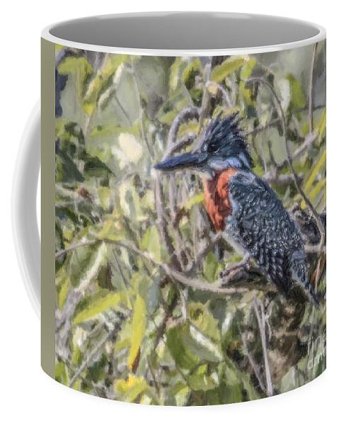Giant Kingfisher Coffee Mug featuring the digital art Giant Kingfisher by Liz Leyden