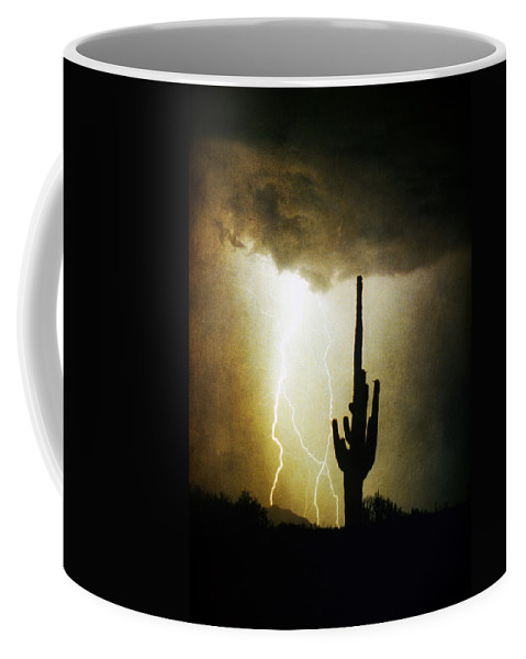 Lightning Coffee Mug featuring the photograph Giant Saguaro Lightning Spiral Fine Art Photography Print by James BO Insogna