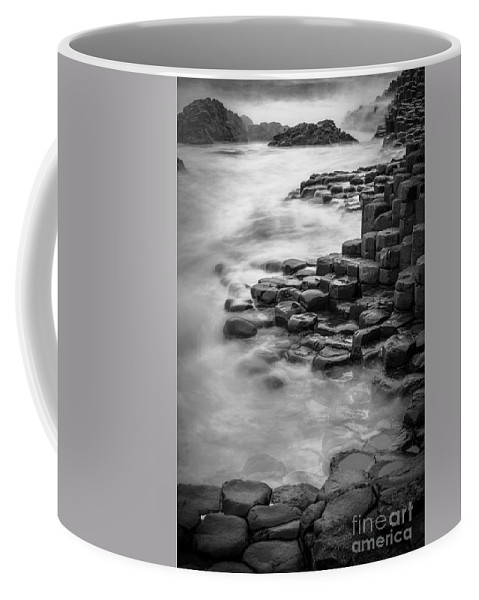 B&w Coffee Mug featuring the photograph Giant's Causeway Waves by Inge Johnsson