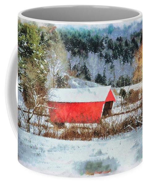 Covered Bridge-gifford Bridge Vermont By Jeff Folger Coffee Mug featuring the photograph Gifford Covered Bridge In Winter by Jeff Folger