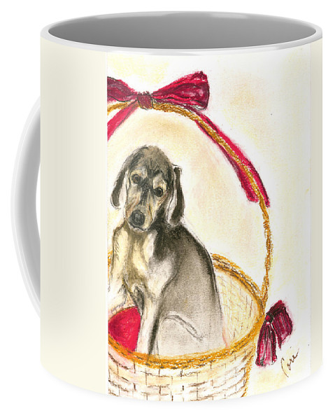 Dog Coffee Mug featuring the drawing Gift Basket by Cori Solomon