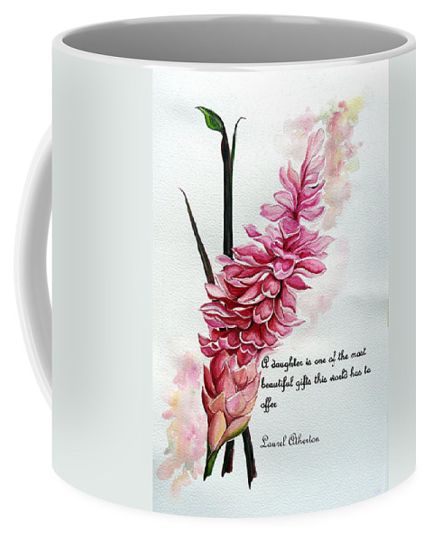 Tropical Lily Coffee Mug featuring the painting Ginger Lily Poem by Karin Dawn Kelshall- Best
