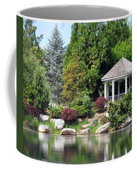 Landscape Gazebo Garden Lake Coffee Mug featuring the photograph Ginter Gazebo by Gail Butler