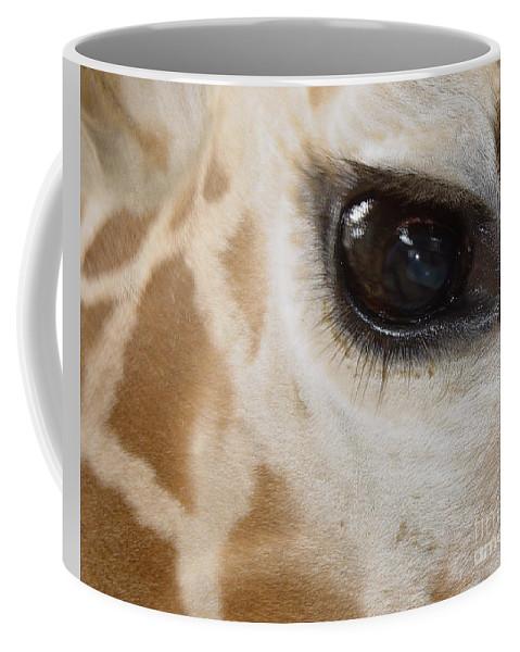 Giraffe Coffee Mug featuring the photograph Giraffe Eye by Heather Coen