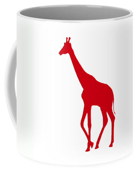 Graphic Art Coffee Mug featuring the digital art Giraffe In Red And White by Jackie Farnsworth