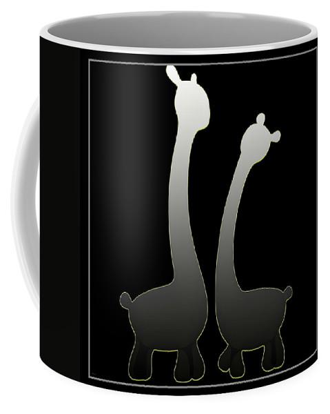 Abstract Coffee Mug featuring the digital art Giraffes... by Tim Fillingim