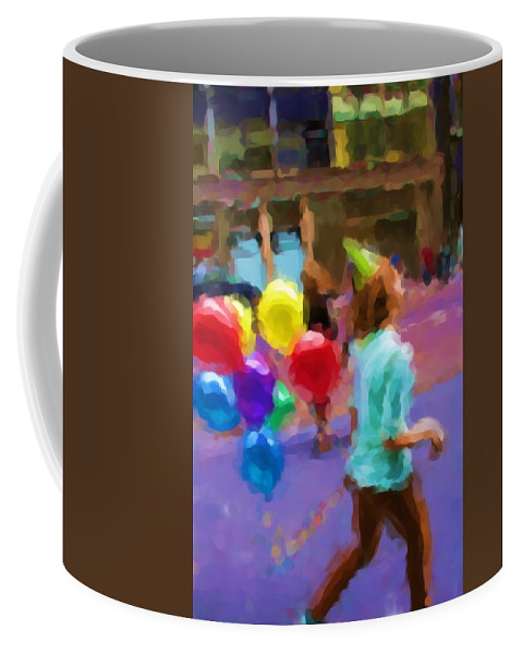 Balloons Coffee Mug featuring the photograph Girl And Her Balloons by Alice Gipson
