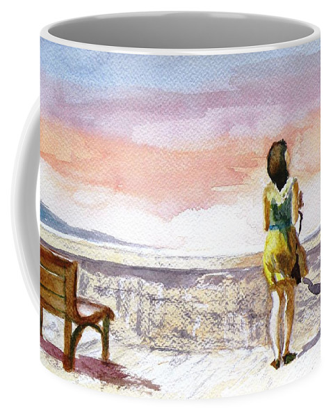 Girl Coffee Mug featuring the painting Girl Enjoying The View by Uma Krishnamoorthy
