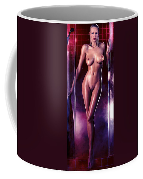 Digital Painting Coffee Mug featuring the digital art Girl in the shower 1 by Gabriel T Toro