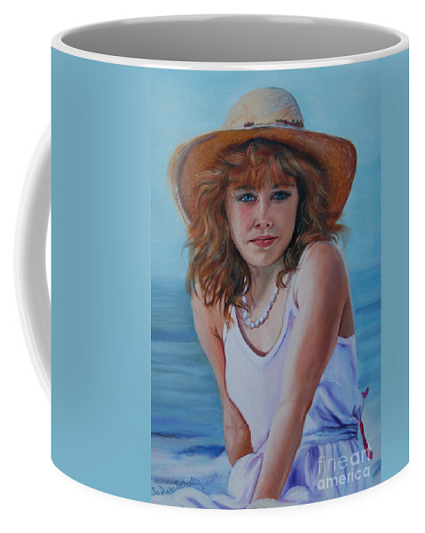 Girl Coffee Mug featuring the painting Girl In The Straw Hat by Susan Duda