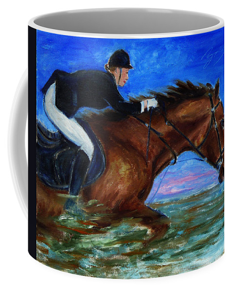 Equine Coffee Mug featuring the painting Girl Riding Her Horse II by Xueling Zou
