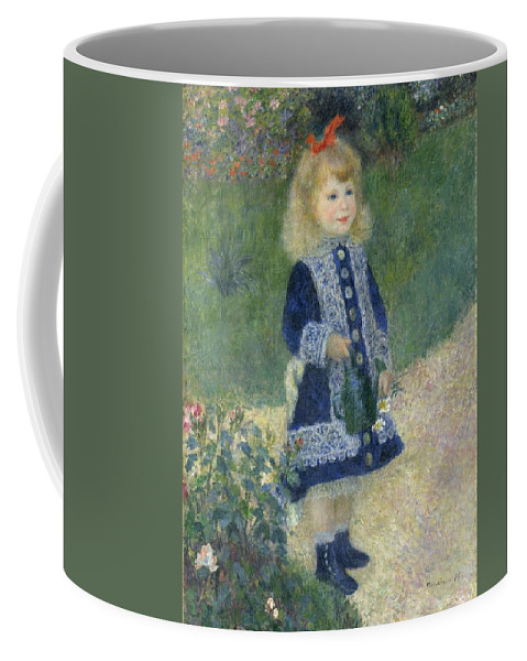 Auguste Renoir Coffee Mug featuring the painting Girl With A Watering Can by Auguste Renoir