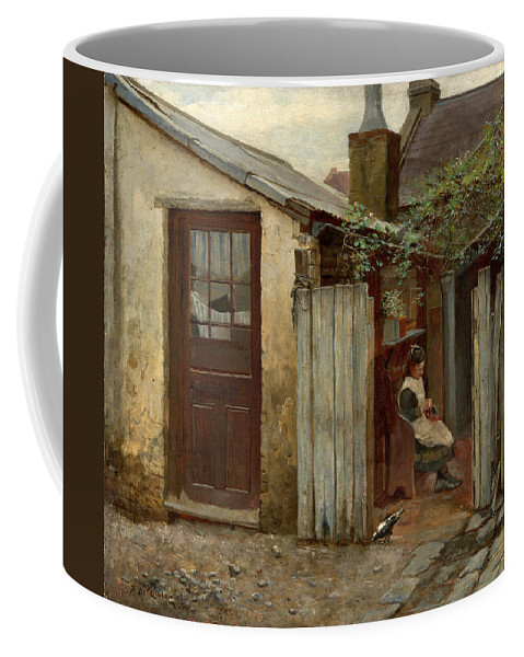 Frederick Mccubbin Coffee Mug featuring the painting Girl with bird at the King Street bakery by Frederick McCubbin