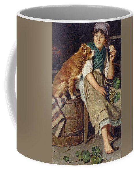 Dog Coffee Mug featuring the painting Girl With Dog by Federico Mazzotta