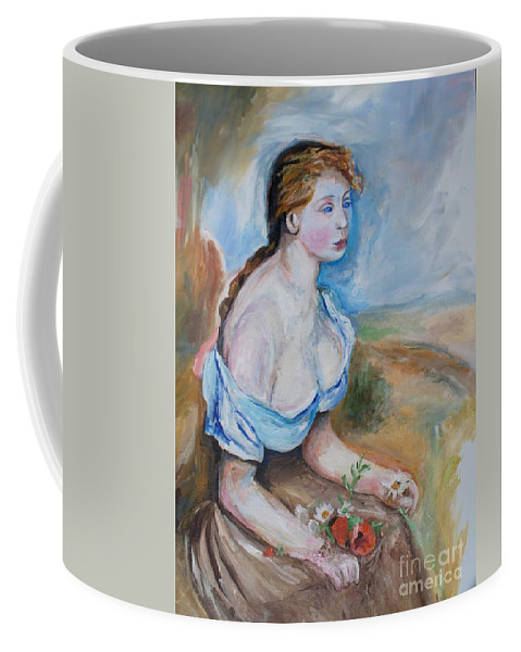 Girl Coffee Mug featuring the painting Girl With Flowers by Eric Schiabor