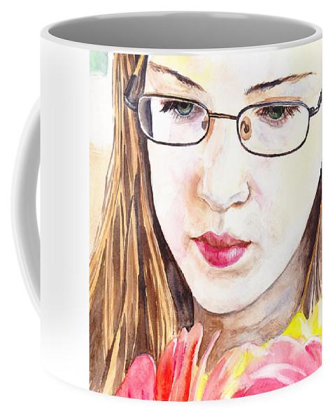 Flower Coffee Mug featuring the painting Girl With Flowers by Masha Batkova